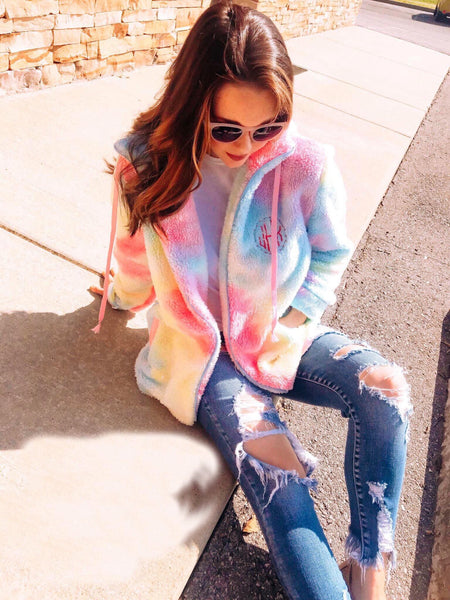 Cotton Candy Tie Dyed Zip Up