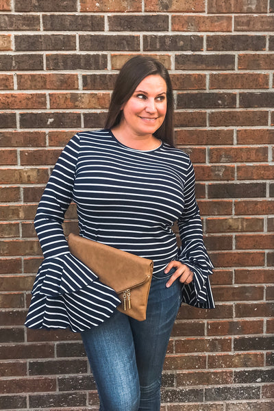 Double Bell Sleeve Striped Top