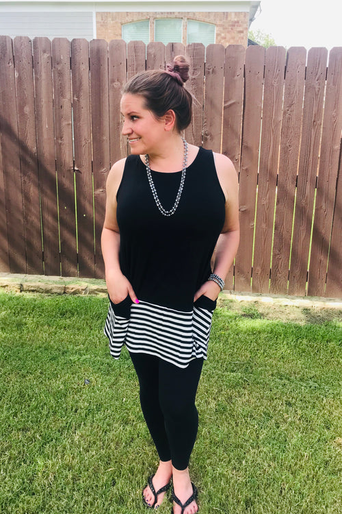 Black with Stripes Sleeveless Tunic