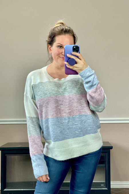 Multi Color Popcorn Knit Sweater