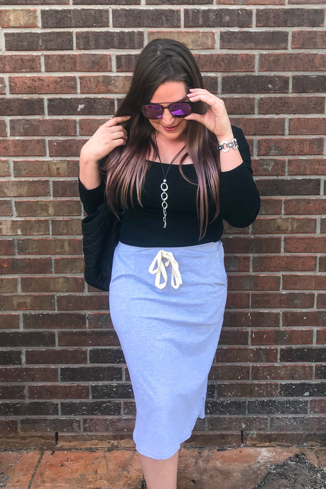 Jersey Knit Midi Skirt in Grey