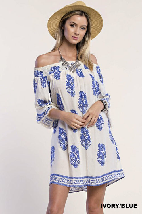 Feather Print Off Shoulder Dress