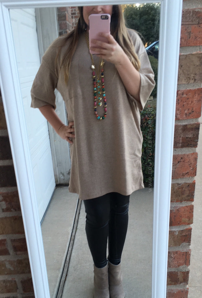 Comfy Boxy Sleeve Dress in Camel