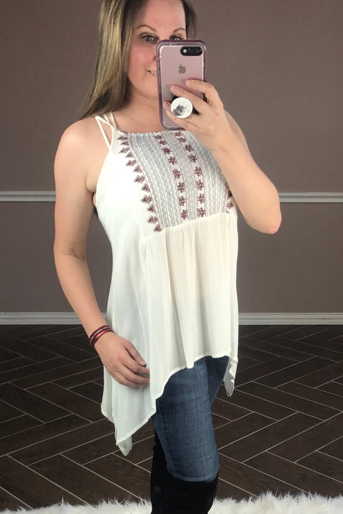 Cream Crinkle Cami with Embroidery