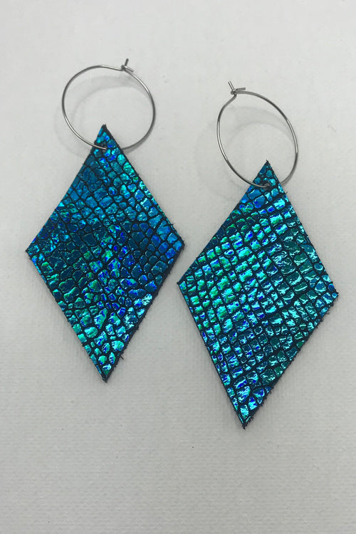 Mermaid Shimmer Leather Earrings