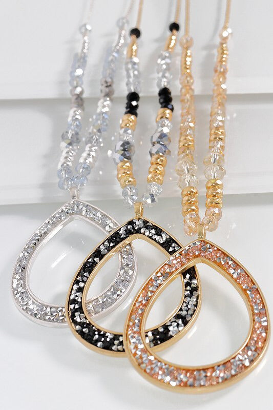 Glitter Teardrop Necklace Set