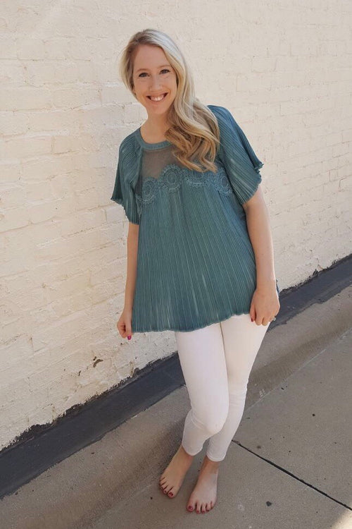 Pleated Bell Sleeve Top in Teal