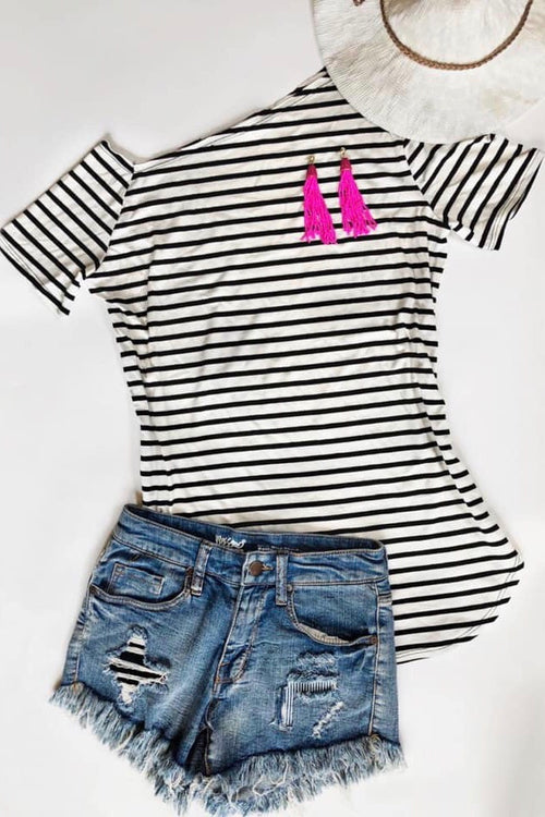 Mini Stripe One Shoulder Top