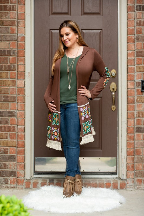 Embroidered Tassel Hem Cardigan