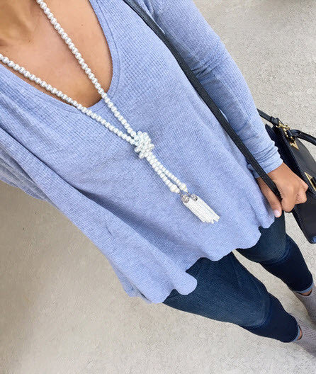 Long Bead Tassel Necklace