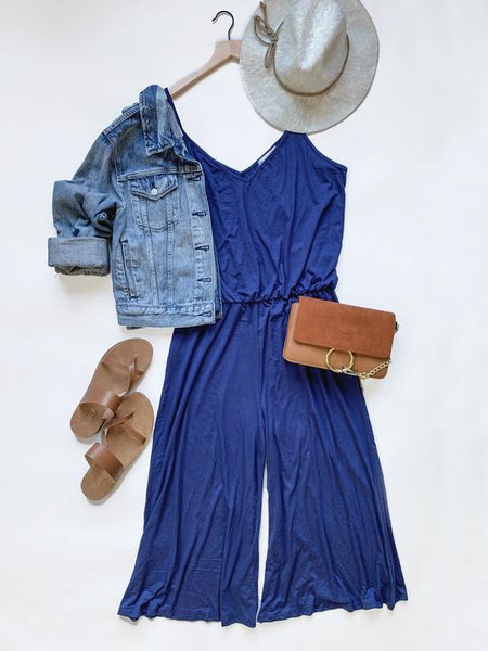 wide leg jumpsuit in blue southern seahorse boutique