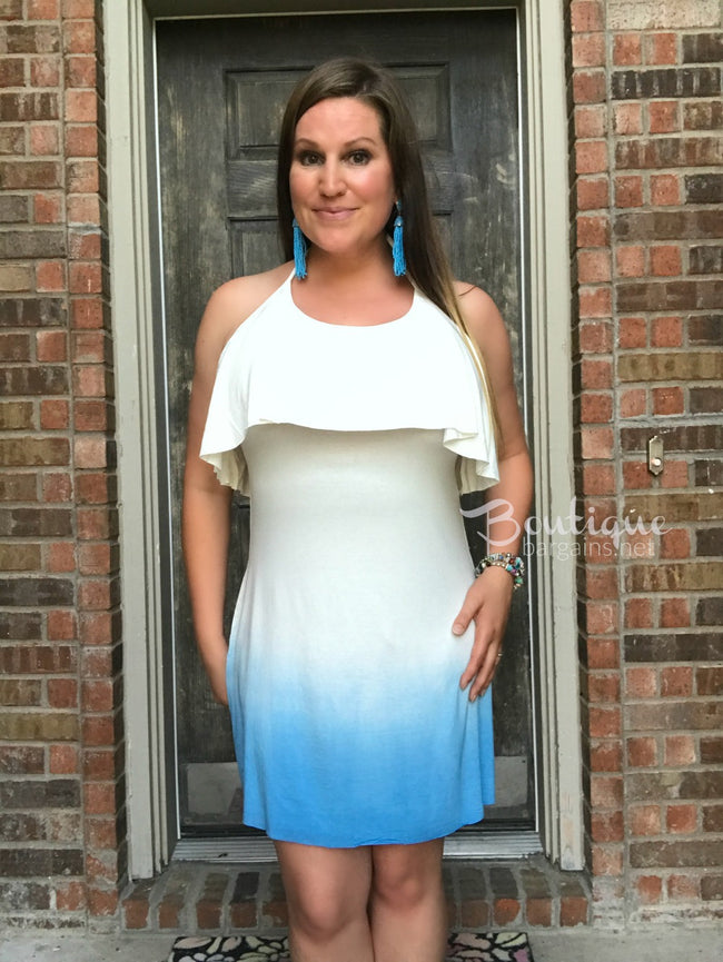 Drop Back Ombre Dress in Ivory