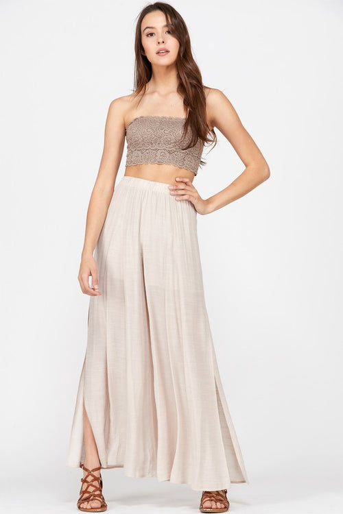 High Slit Palazzo Pants in Champagne
