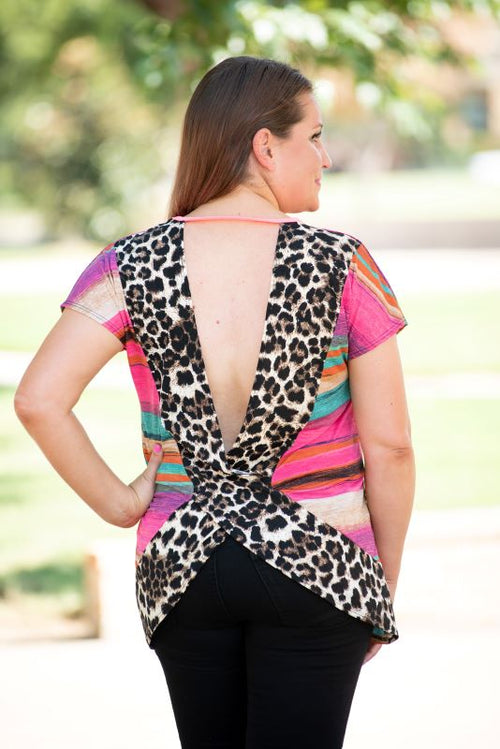 Stripes & Leopard Open Back Top