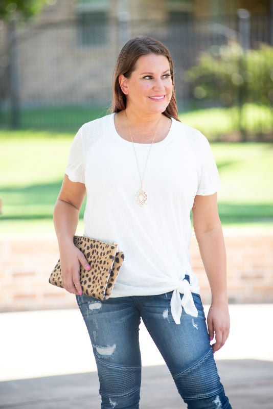 Two Tone Tie Hem Top in Ivory