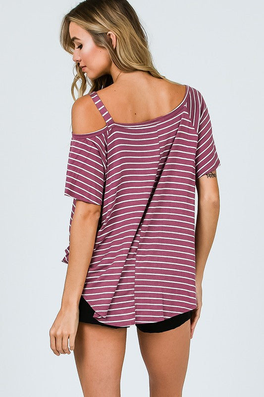 Mauve Striped One Shoulder Top
