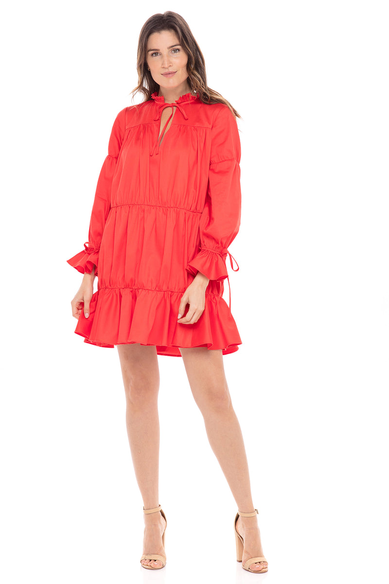 Leo Red Orange Tiered Prairie Dress - CURRENTLY