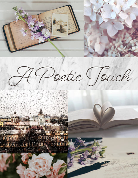 a poetic touch moodboard - october house fiber arts journal