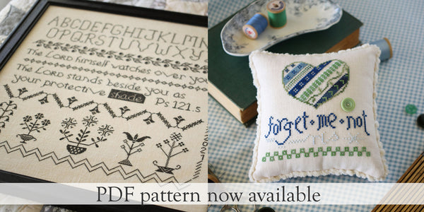 Shepherd Sampler and Forget Me Not now available as PDF Instant Downloads - October House Fiber Arts Journal