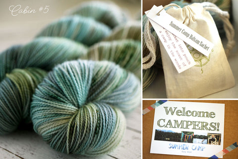 july 2019 sock club box - summer camp - cabin #5 - october house fiber arts journal