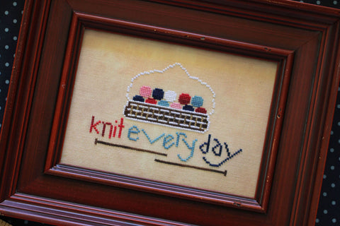 knit everyday - cross stitch pattern - october house fiber arts journal
