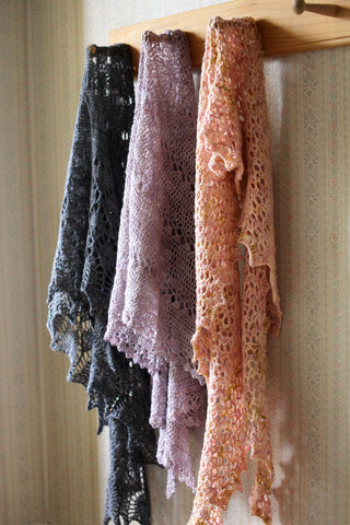 three shawls - october house fiber arts journal
