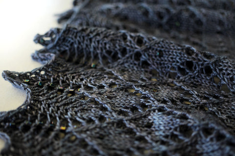 three beautiful shawls - solasta shawl - blackbird - october house fiber arts journal