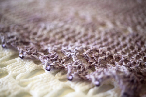 three beautiful shawls - fanfare lace shawl - dried lavender - october house fiber arts journal