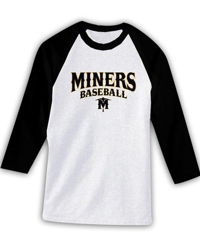 Miners Baseball 3/4 (Black/White)