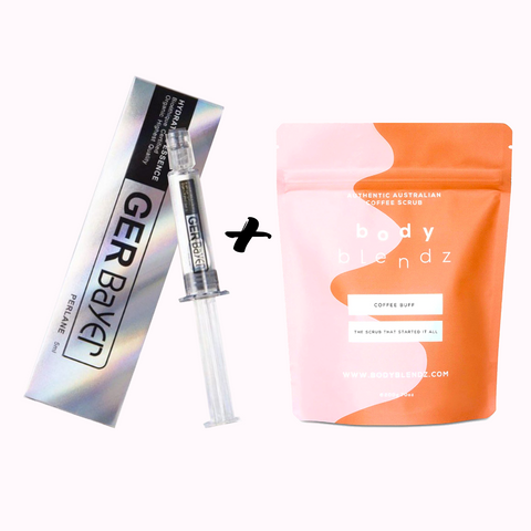 """Glow All Day"" 1 x Gerbayer Hyaluronic Acid Booster Serum + 1 x Bodyblendz Scrub"