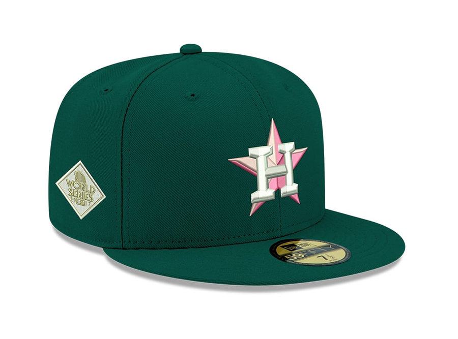 EXCLUSIVE NEW ERA 59FIFTY HOUSTON ASTROS 2017 WORLD SERIES PATCH W/ PINK UV HAT - GREEN