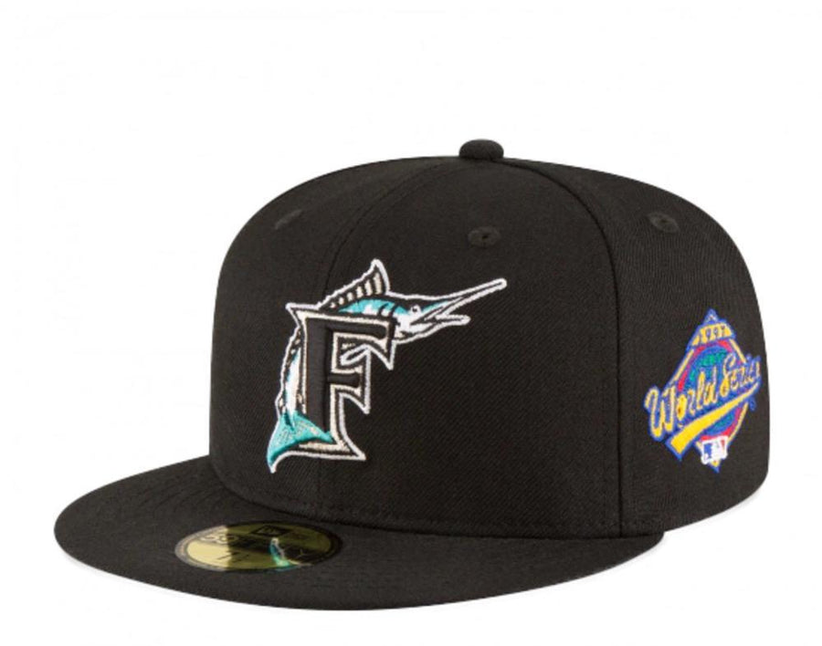EXCLUSIVE NEW ERA 59FIFTY FLORIDA MARLINS 1997 WORLD SERIES PATCH PINK UV HAT - BLACK