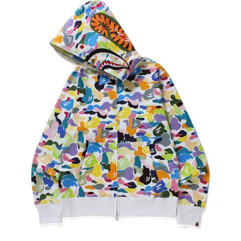 Bape Multi Camo Shark Full Zip Hoodie White