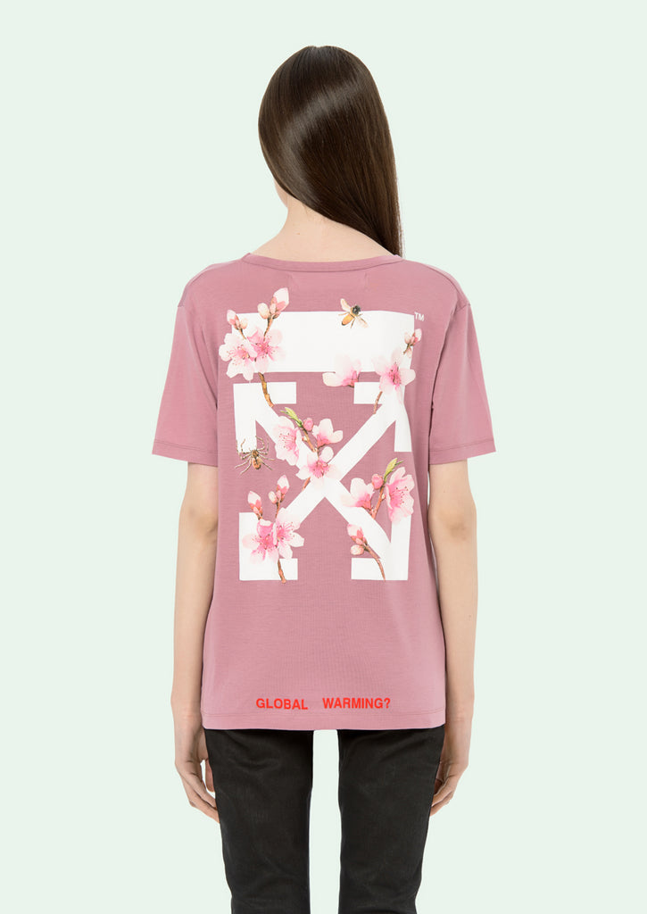 Off White Cherry Flower Oversize Tee Pink