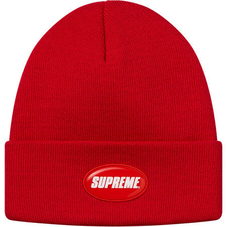 Supreme Rubber Patch Beanie Red