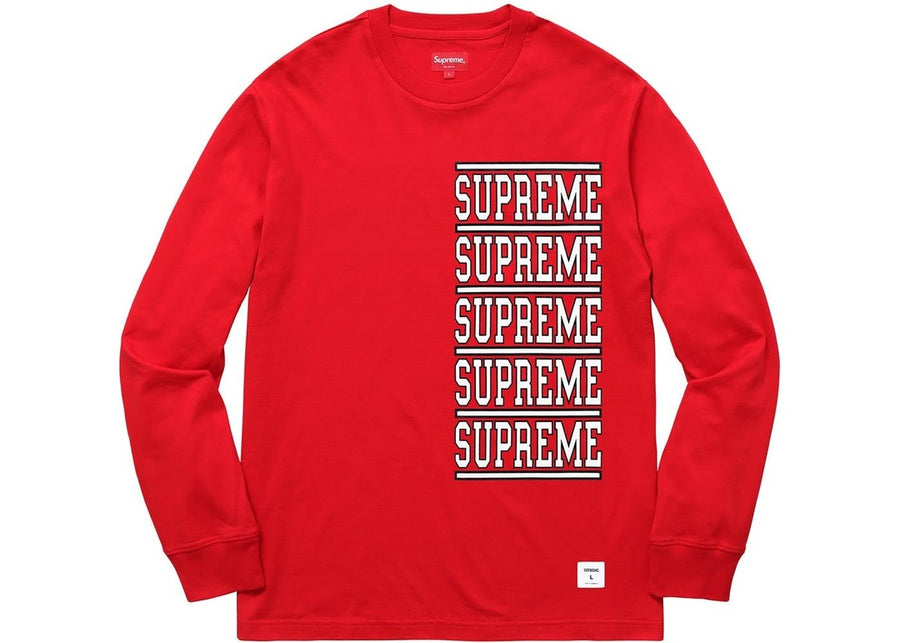 Supreme Stacked Long Sleeve Top Red