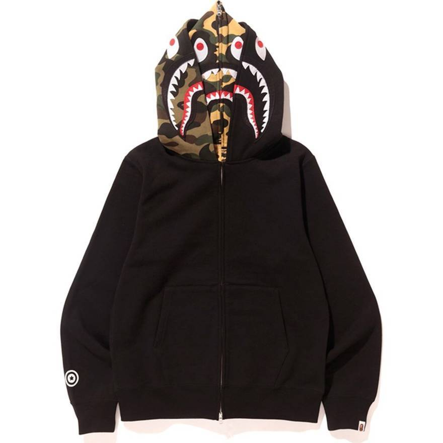 Bape Shark Full Zip Double Hoodie Black Men's