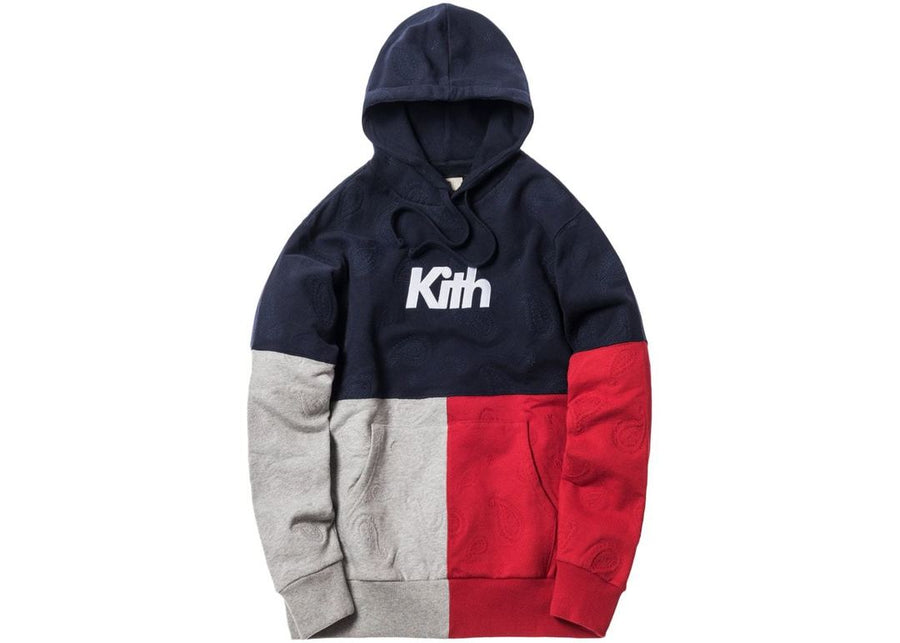 Kith Paisley Tri-Block Hoodie Navy/Heather Grey/Red