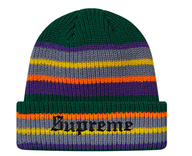 Supreme Bright Stripe Beanie Green