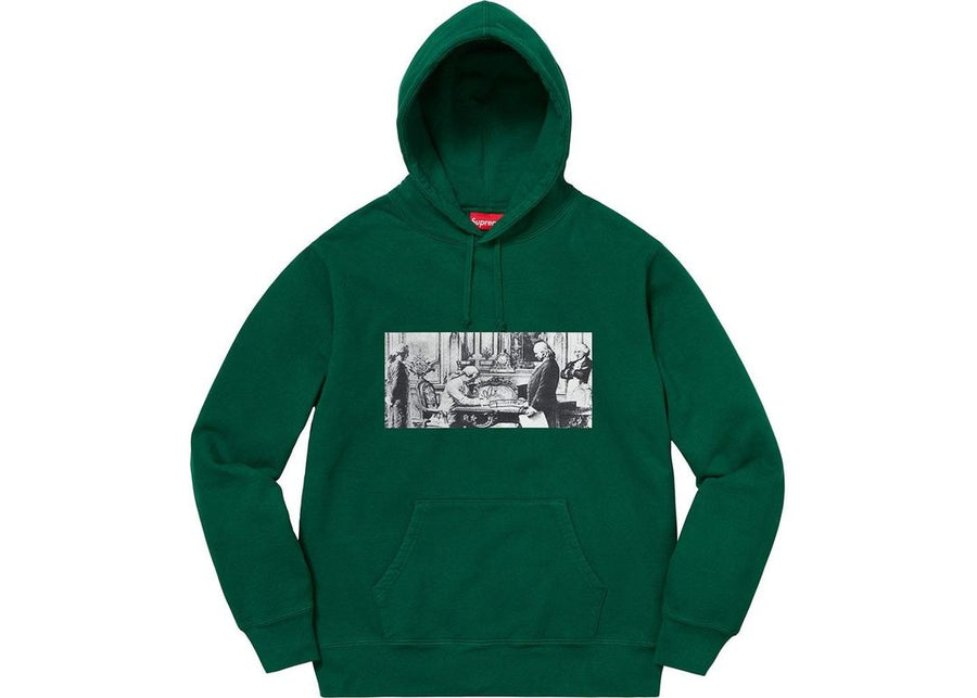 Supreme Mike Kelley Franklin Signing the Treaty of Alliance with French Officials Hooded Sweatshirt Dark Green
