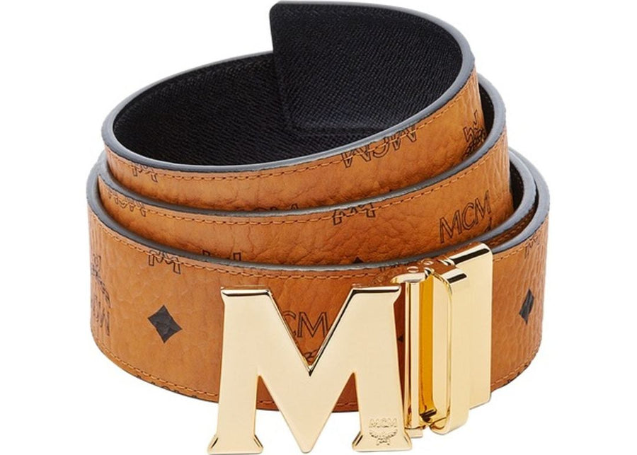 MCM Claus M Reversible Belt Visetos Cognac