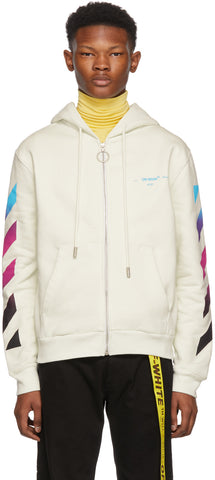 Off-White White Diagonal Gradient Zip Hoodie
