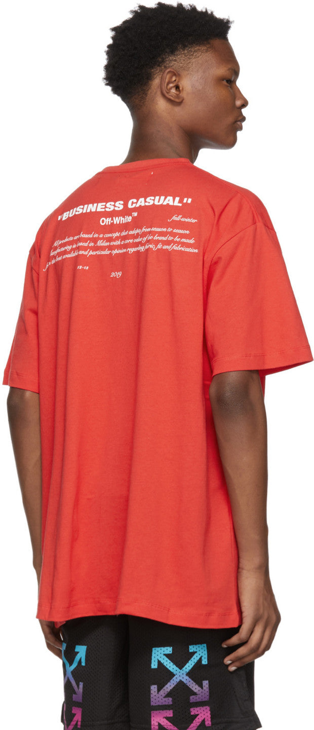 Off White Red 'Business Casual' Bernini T-Shirt