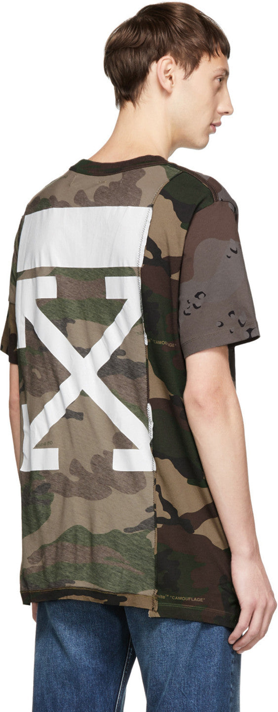 Off-White Multicolor Camo Reconstructed T-Shirt