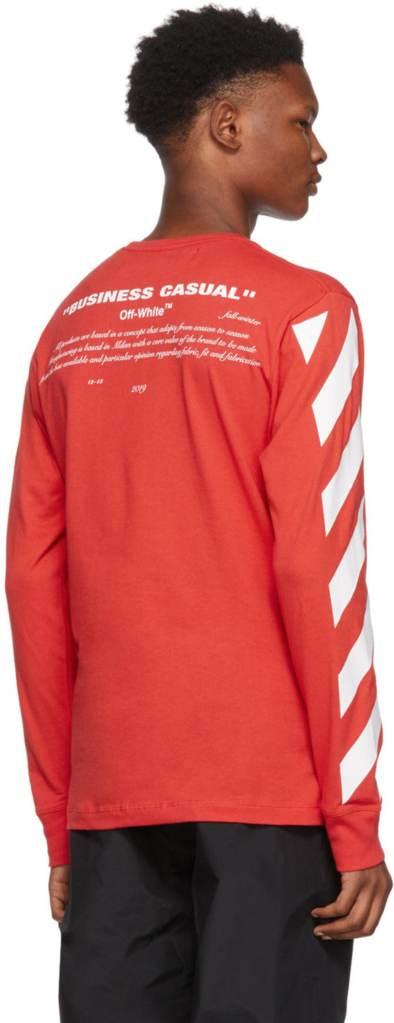 Off White Red Diagonal Bernini Long Sleeve T-Shirt