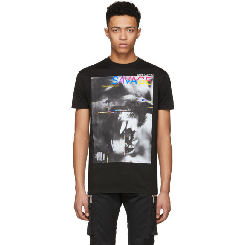 DSquared2 Black 'Savage' Long Cool T-Shirt