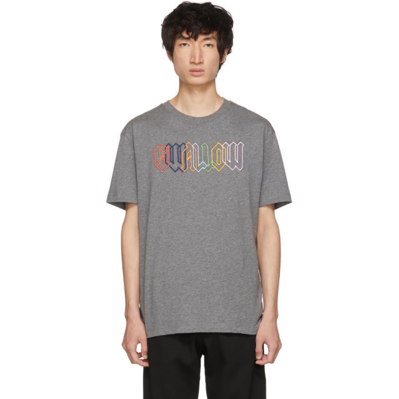 Alexander McQueen Grey Rainbow 'Swallow' T-Shirt