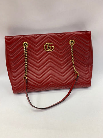 Gucci red tote bag with double handle