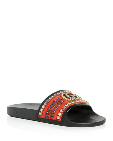 Gucci Velvet slide sandal with crystals
