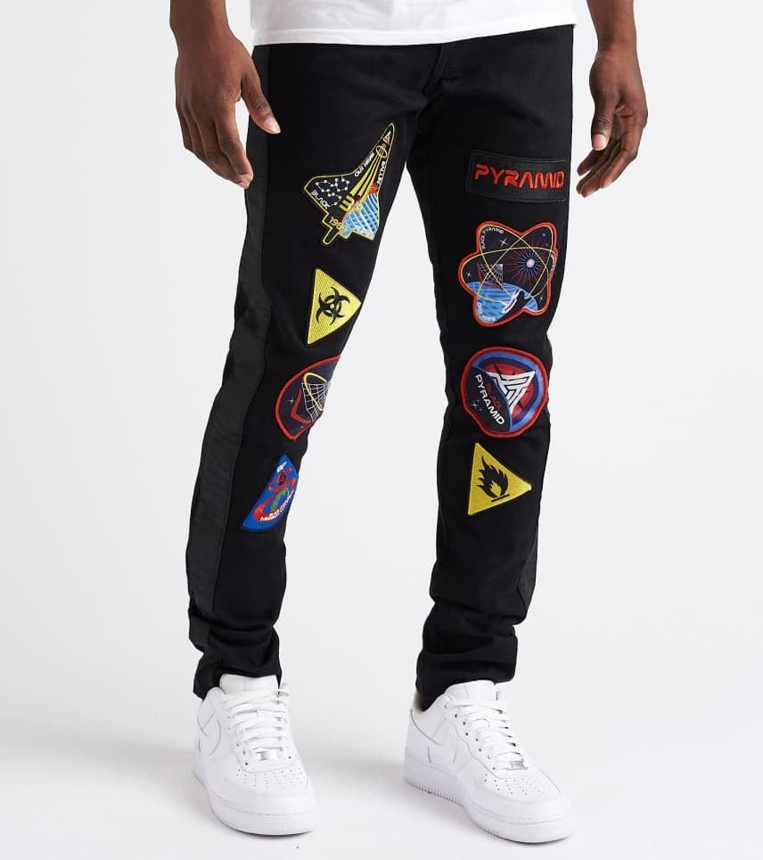 Black Pyramid Patch Jeans Black